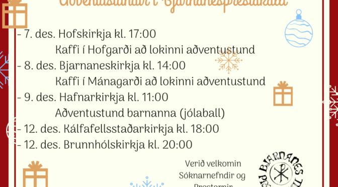 Aðventustundir í Bjarnanesprestakalli 2018