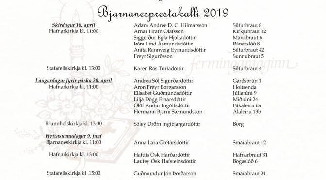 Fermingarbörn 2019