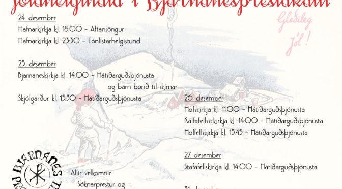 Jólahelgihald í BJarnanesprestakalli 2019